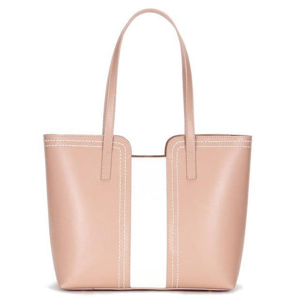 JEKA Genuine Leather Tote Handbag - pink