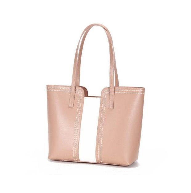 JEKA Genuine Leather Pink Tote - VINNALEA