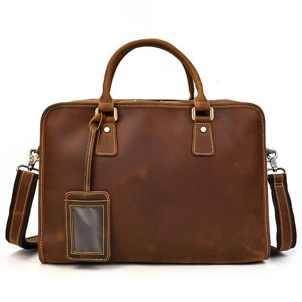 ELLAN Genuine Leather Briefcase - brown