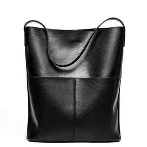 Open image in slideshow, LARECA Genuine Leather Tote Handbag - black