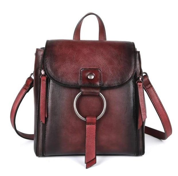 ULOA Tan Genuine Leather Backpack - red
