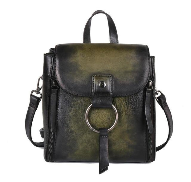 ULOA Tan Genuine Leather Backpack - green