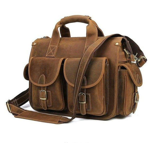 CHAGAN Genuine Leather Briefcase - brown