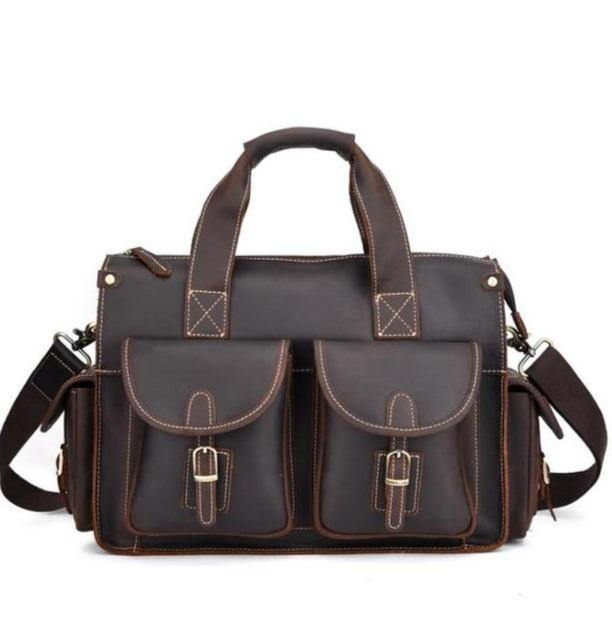 CHAGAN Genuine Leather Briefcase - dark brown