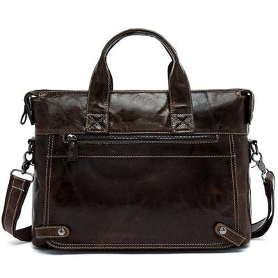 WALIAN Genuine Leather Shoulder handBag - coffee
