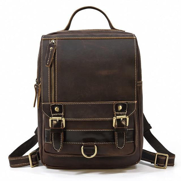 ABREU Genuine Leather Backpack - dark brown