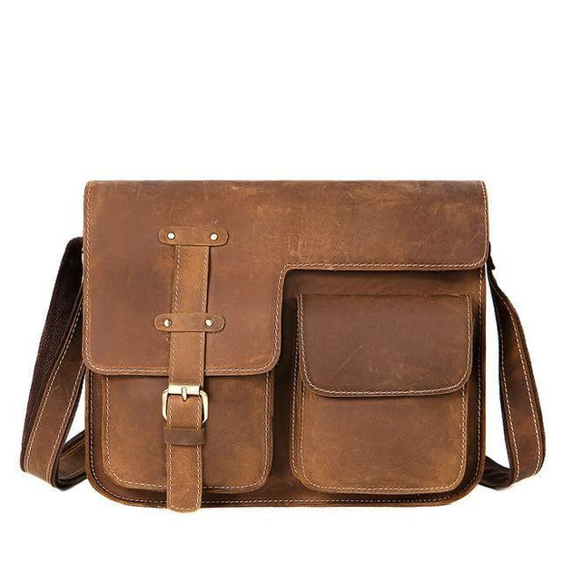 KECKER Men's Genuine Leather Shoulder Bag - brown