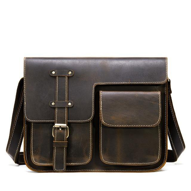 KECKER Genuine Leather Shoulder Bag - deep coffee