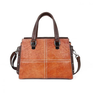 Open image in slideshow, LIANA Genuine Leather Handbag - brown