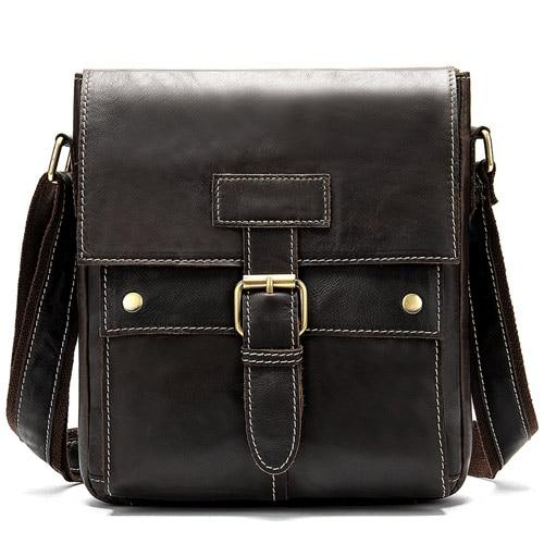 REID Men's Genuine Leather Shoulder Bag - coffee