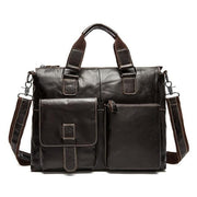 WOALAN Men's Genuine Leather Shoulder Bag - coffee