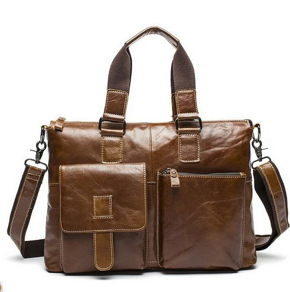 WOALAN Men's Genuine Leather Shoulder Bag - brown