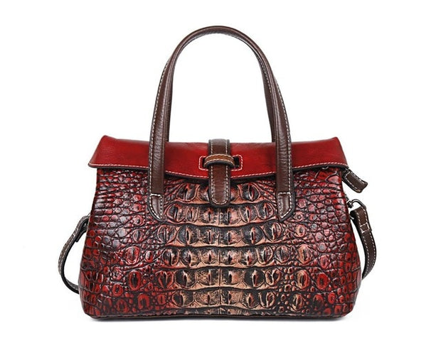 GIVEA Genuine Leather Crocodile Handbag - red