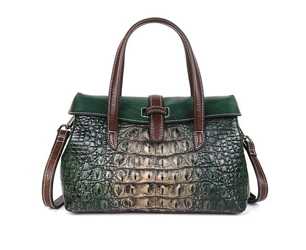 GIVEA Genuine Leather Crocodile Handbag - green