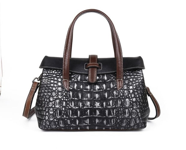 GIVEA Genuine Leather Crocodile Handbag - brown