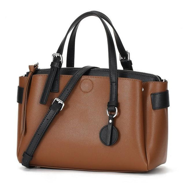 RIKKA Genuine Leather Tote Purse - brown