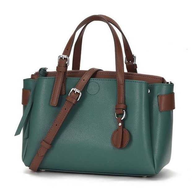 RIKKA Genuine Leather Tote Purse - green