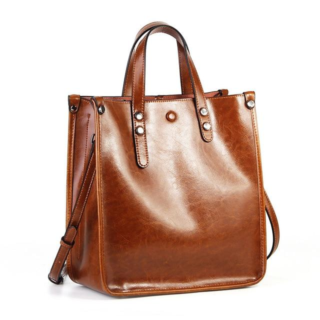 TROVA Genuine Leather Tote Handbag