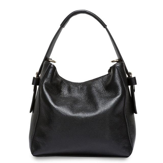 TELLA Black Genuine Leather Tote Bag