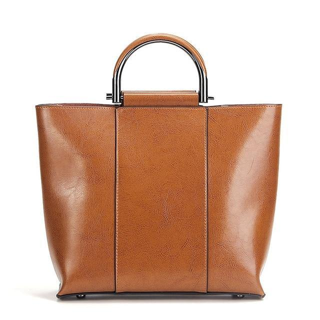 FLEXIA Genuine Leather Tote Handbag - brown