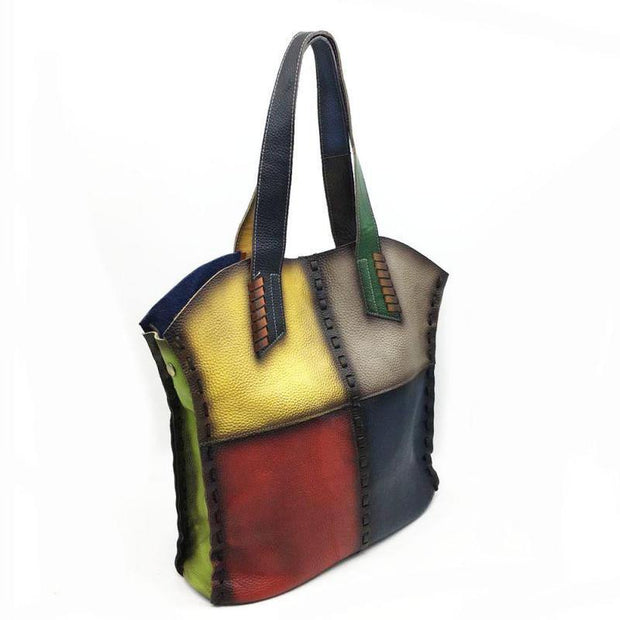 GORIA Genuine Leather Multicolor Tote - VINNALEA