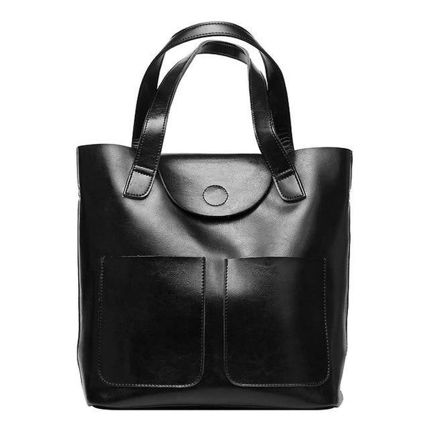 CARITA Large Genuine Leather Handbag - black