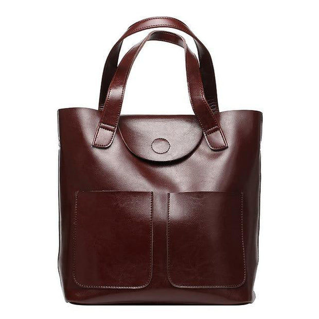 CARITA Large Genuine Leather Handbag - brown