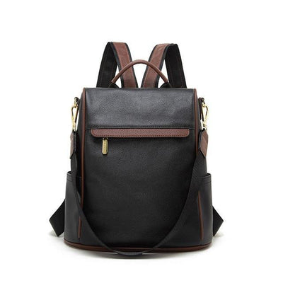 DORIA Genuine Leather Anti Theft Backpack - grey