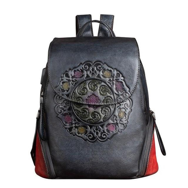 SIDES Vintage Genuine Leather Backpack - gray