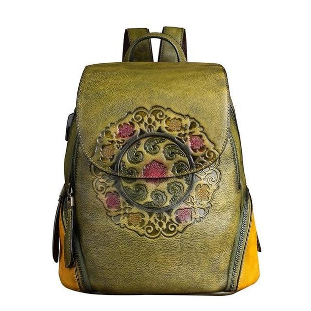 SIDES Vintage Genuine Leather Backpack - green