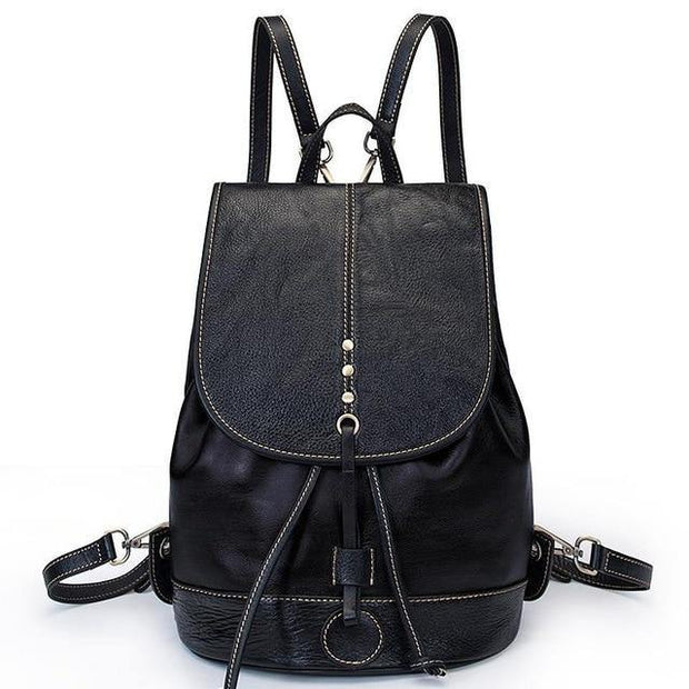 EZERA Vintage Genuine Leather Backpack - black