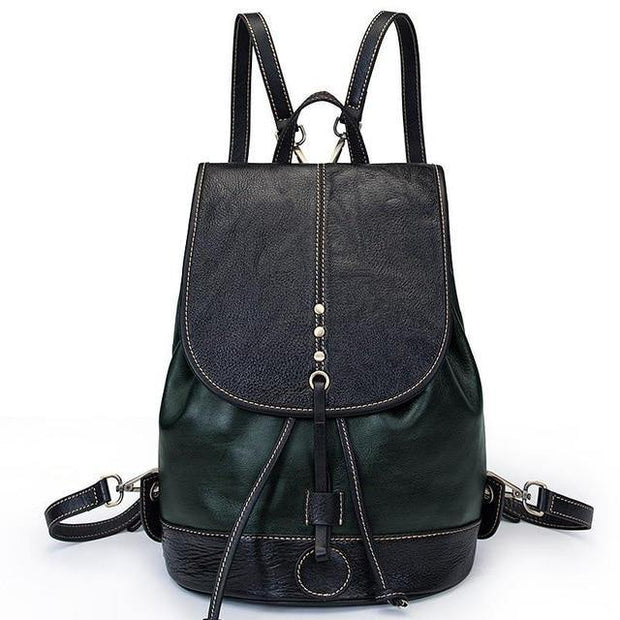 EZERA Vintage Genuine Leather Backpack - green
