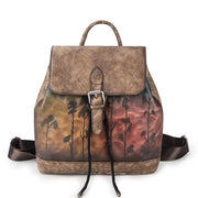 VIELA Genuine Leather Drawnstring Backpack - coffee