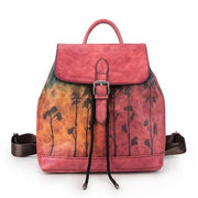 VIELA Genuine Leather Drawnstring Backpack - red