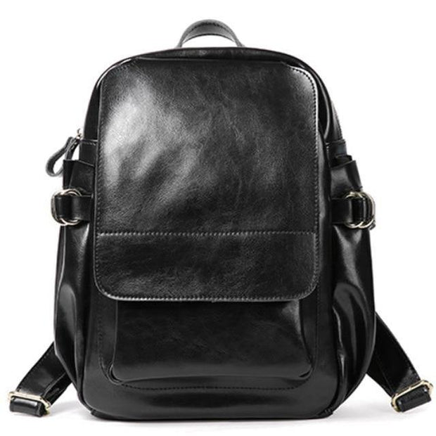 ADITHA Genuine Leather Mini Backpack Purse- black