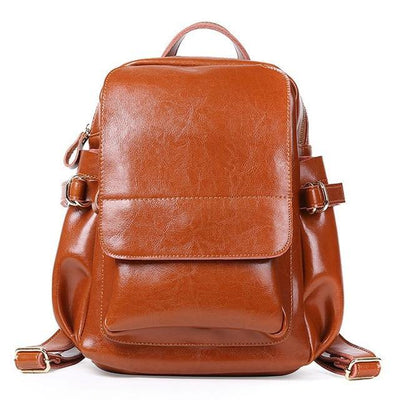 ADITHA Genuine Leather Mini Backpack Purse - brown