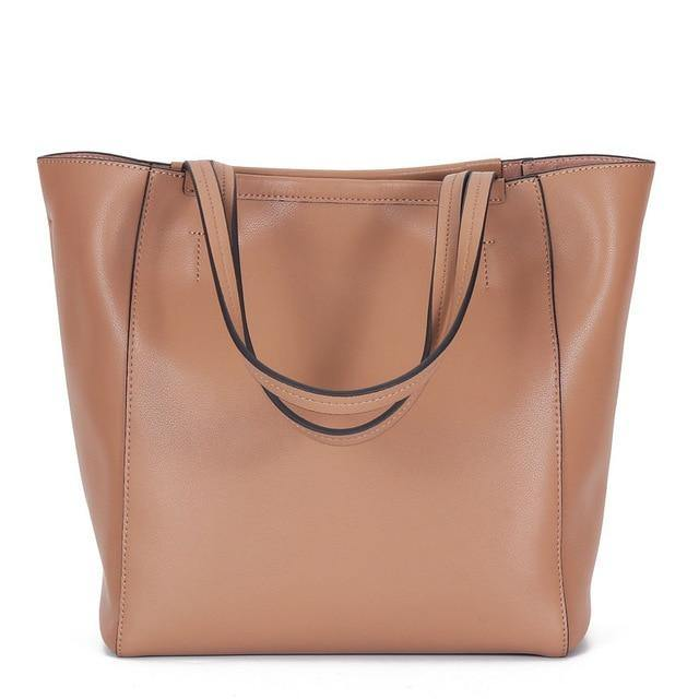 ERINA Genuine Leather Tote Handbag - pink