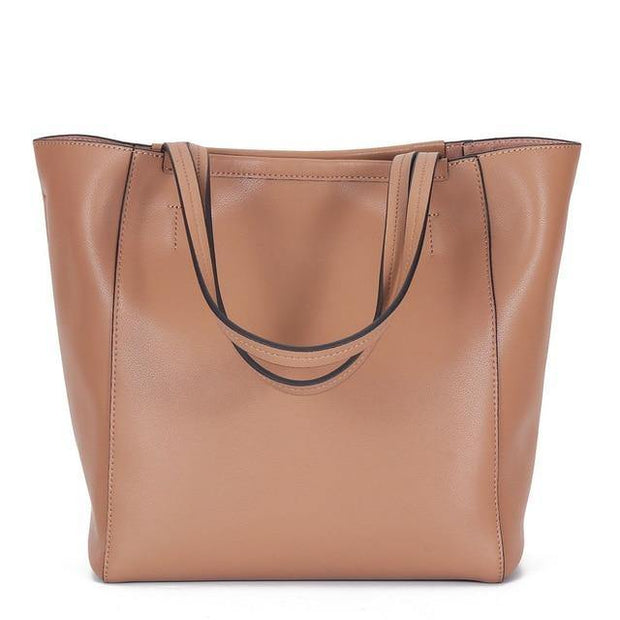 ERINA Large Genuine Leather Tote - pink