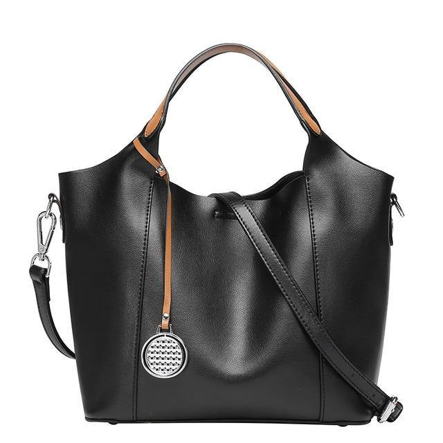 CERINA Genuine Leather Handbag - black