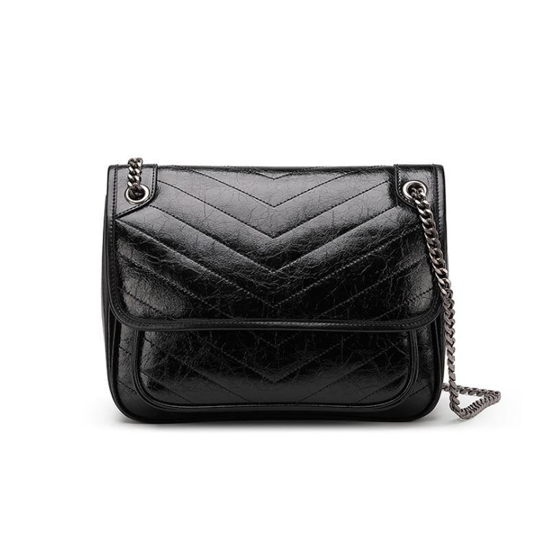 ADRA Genuine Leather Handbag - black