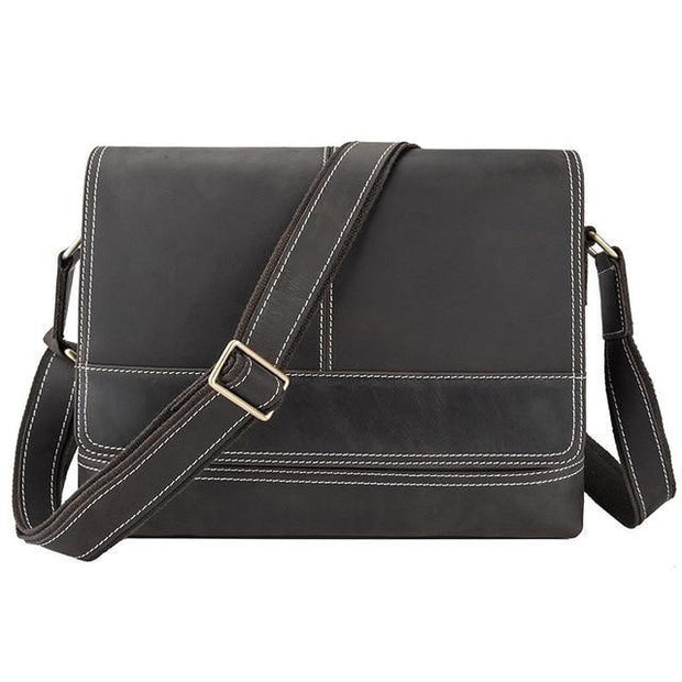 DWAIN Genuine Leather Messenger Shoulder Bag - black