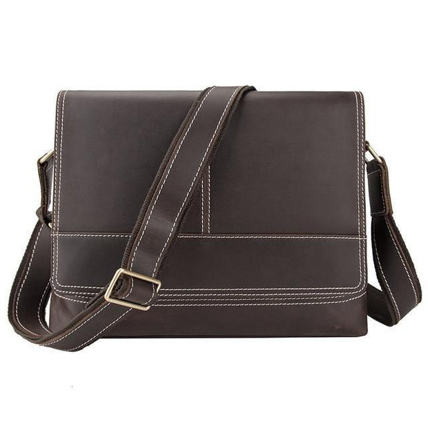 DWAIN Genuine Leather Messenger Shoulder Bag - coffee