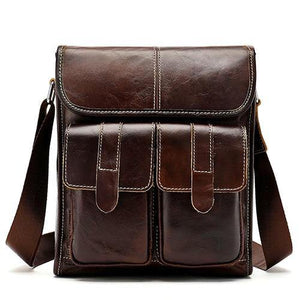 Open image in slideshow, AUWEN Genuine Leather Shoulder Bag - coffee