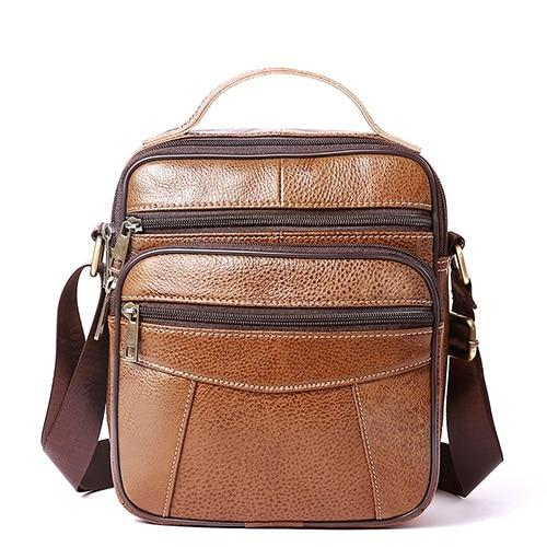 NICKA Genuine Leather Mini Shoulder Bag - coffee