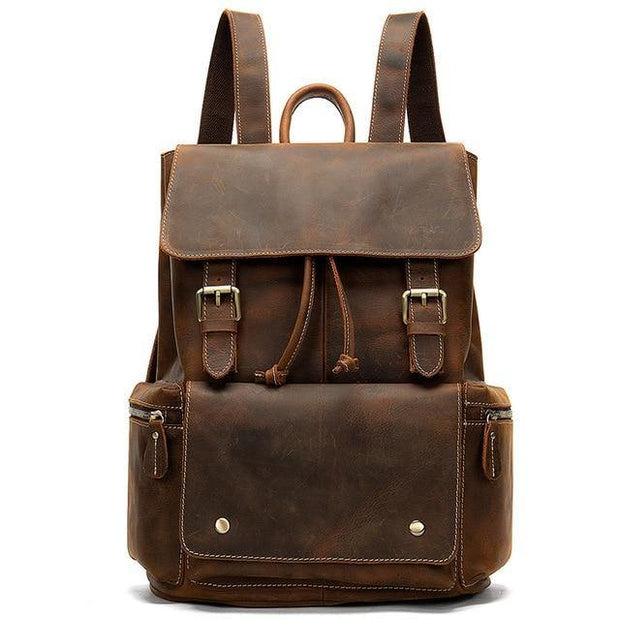 CARU Genuine Leather Backpack With Pockets - coffee