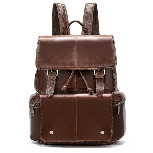 CARU Genuine Leather Backpack With Pockets - brown