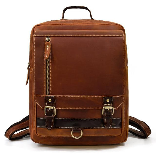 UFEL Genuine Leather Small Backpack - brown