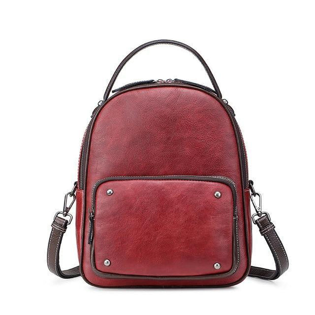 LAWA Genuine Leather Ladies Backpack - red