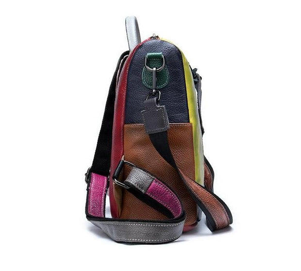 TONKA Genuine Leather Convertible Backpack - Patchwork