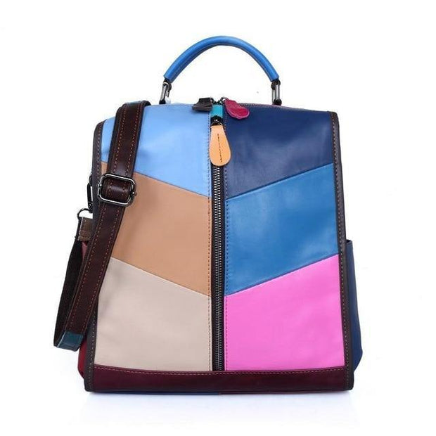 CARRA Genuine Leather Patchwork Backpack